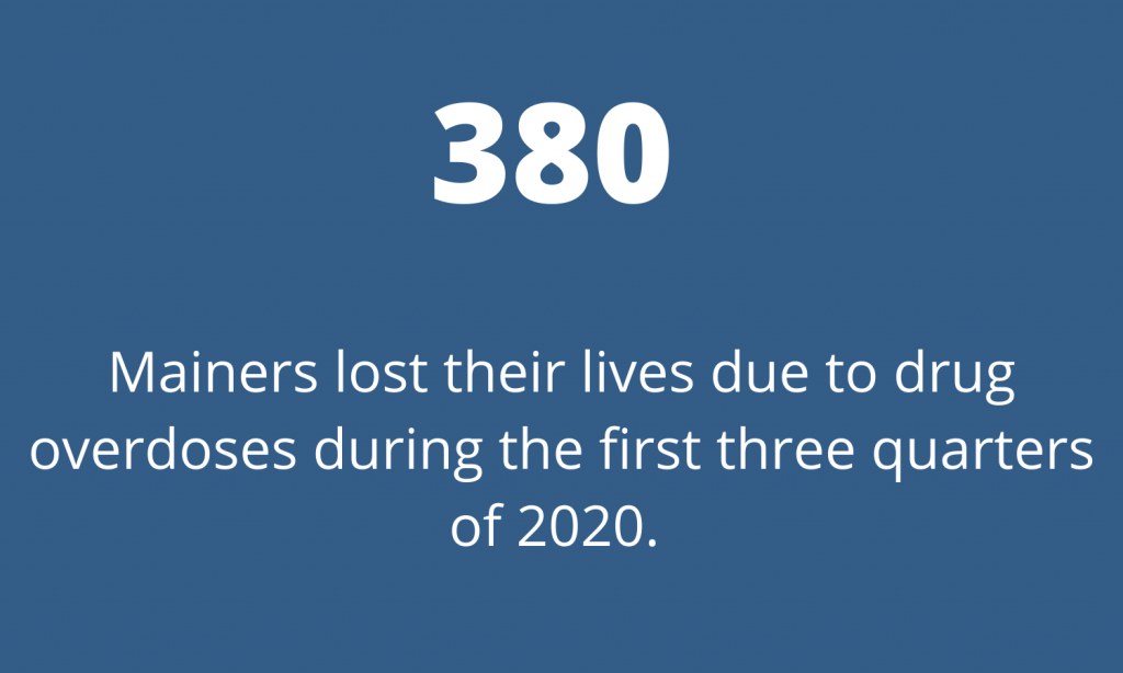 380 Mainers lost their lives due to drug overdoses during the first three quarters of 2020